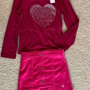 sz5-6 TOUGHSKIN 2pc outfit, Pink shirt & skirt